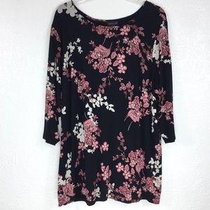 J. Jill Wearever 2X Floral Pleated Back Tunic